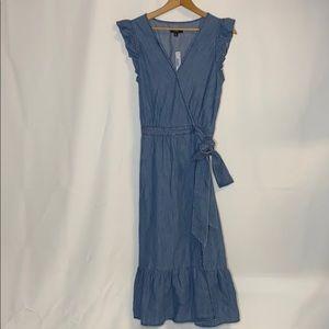 J. Crew Midi Wrap Dress in Chambray Women's 8